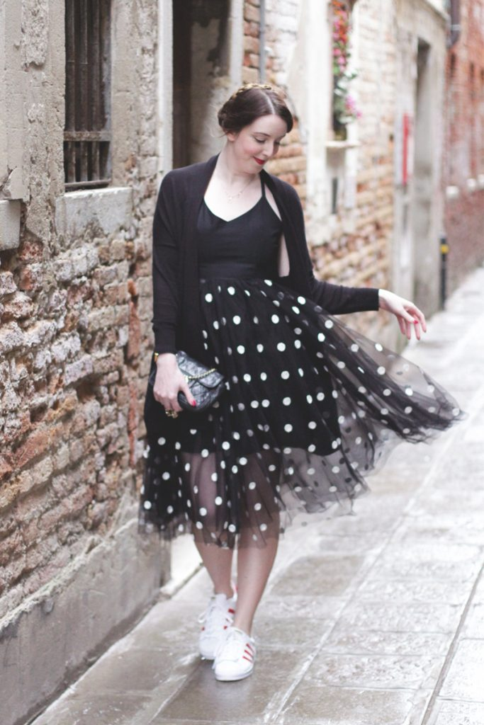 Polka dot tulle dress and trainers, Bumpkin Betty