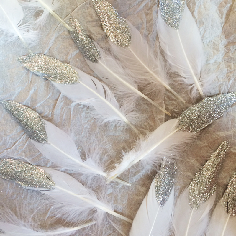 How to make glitter dipped feathers, Bumpkin Betty