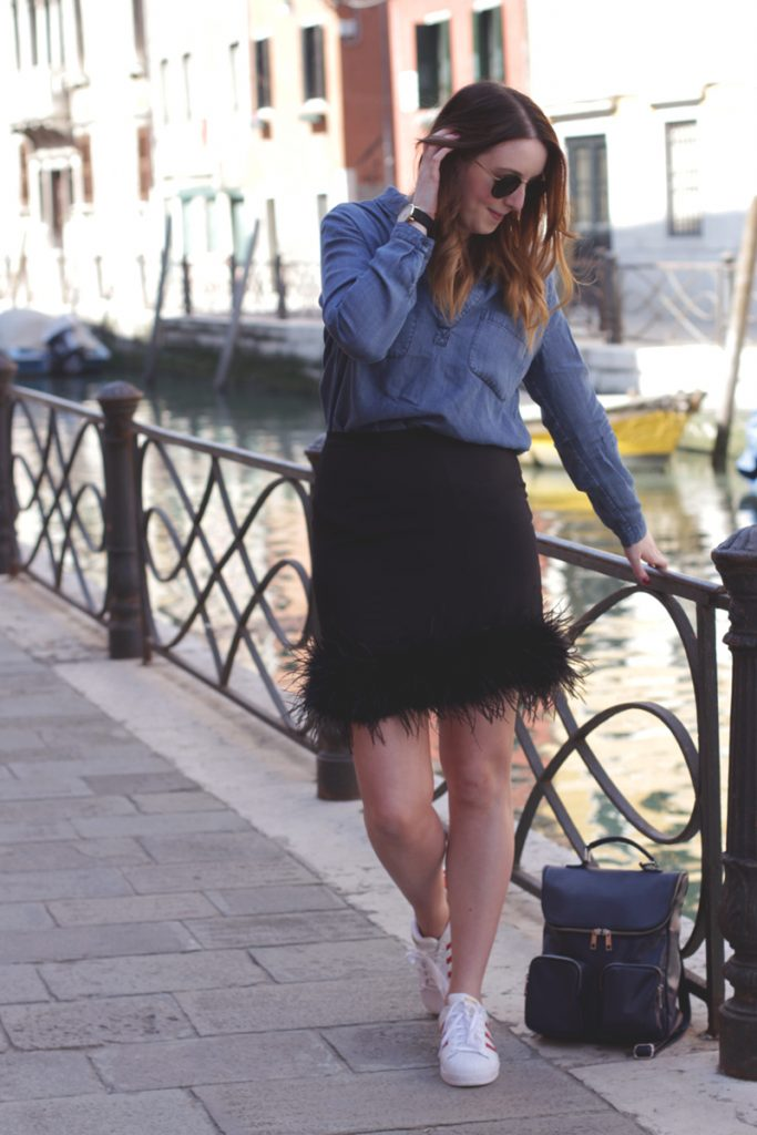 Boden denim shirt and Missguided feather skirt in Venice