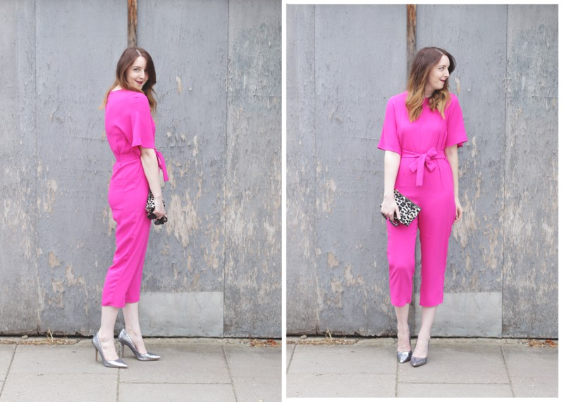 Topshop pink jumpsuit and Zara heels, Bumpkin Betty