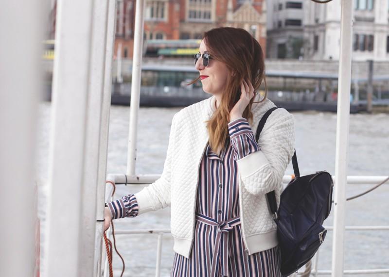 Stripe dress and white bomber jacket, Bumpkin Betty