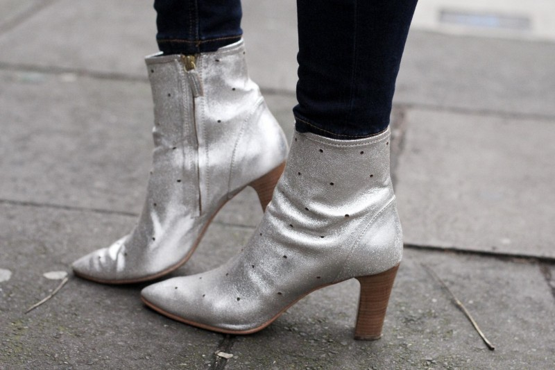 Boden silver heeled ankle boots, Bumpkin Betty