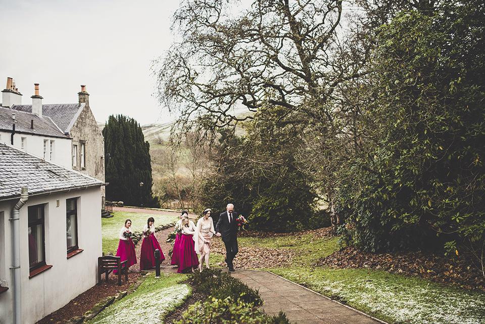 dusky pink dress for a scottish winter wedding, Bumpkin Betty
