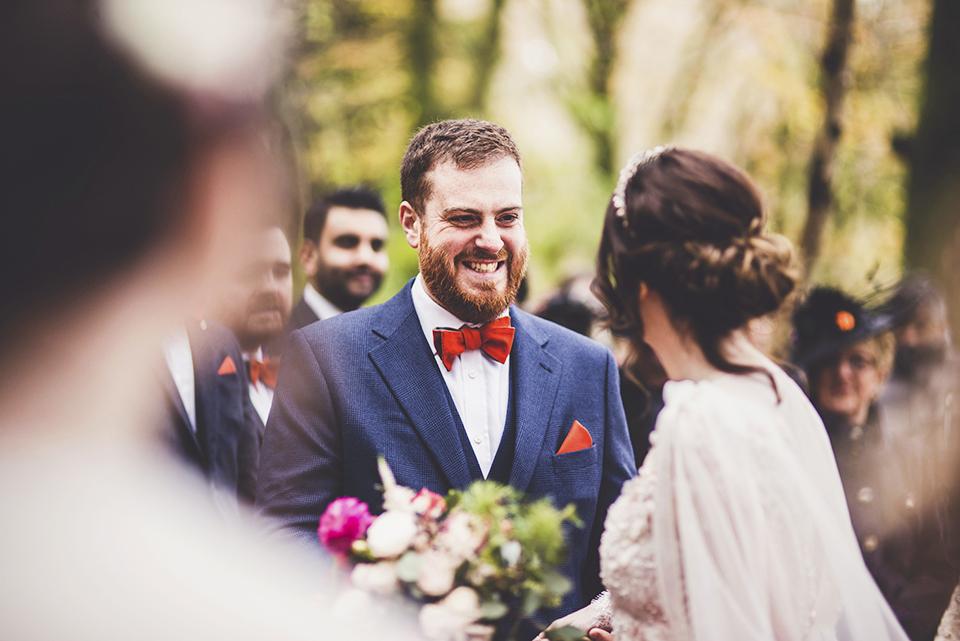 Woodland wedding ceremony in Scotland, Bumpkin Betty
