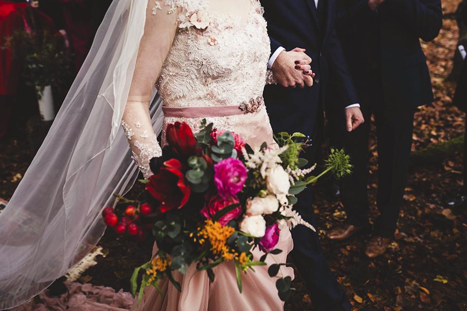 Charlotte Wilden pink wedding dress, Bumpkin Betty