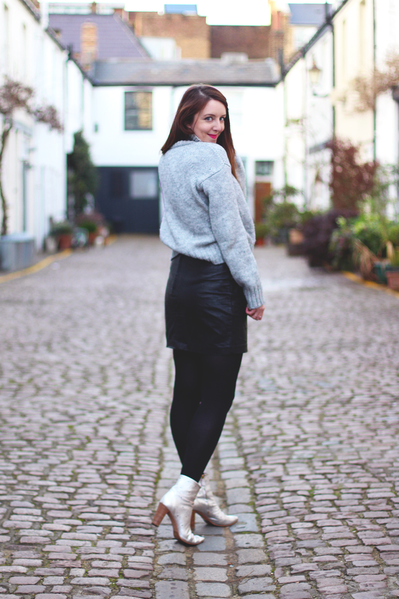 rollneck sweaters and leather mini skirts, Bumpkin betty