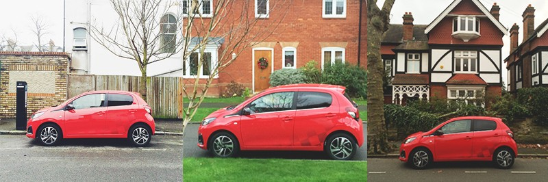 driving the peugeot 108 in London, Bumpkin Betty