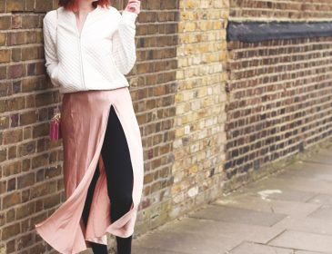 Pink slip dress and bomber jacket, Bumpkin Betty