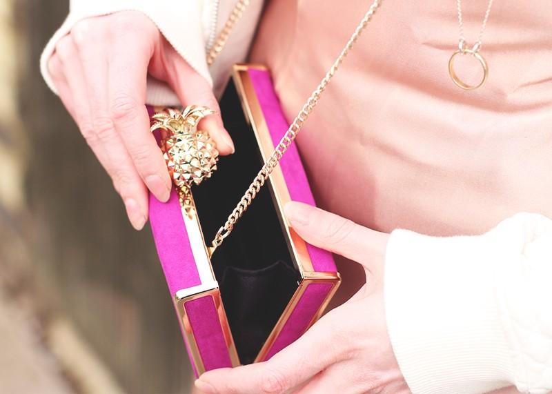 Zara pink suede clutch bag, Bumpkin Betty