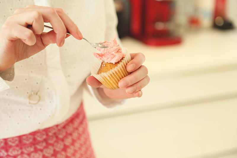 Pink coloured cupcakes, Bumpkin Betty
