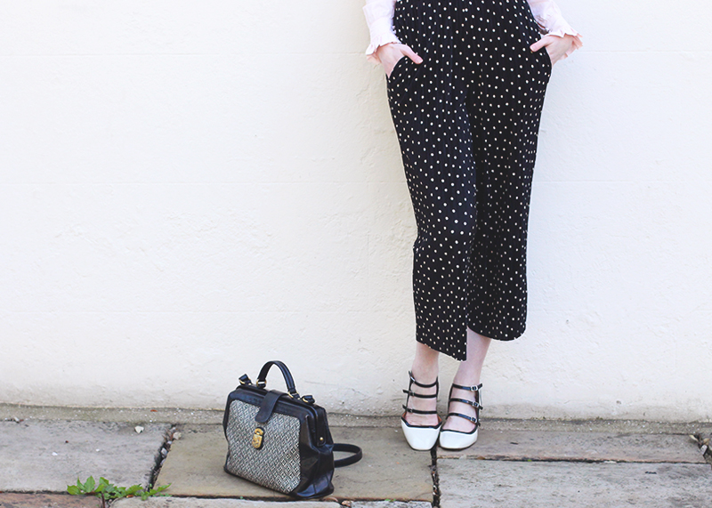 Topshop polkadot trousers, Bumpkin Betty