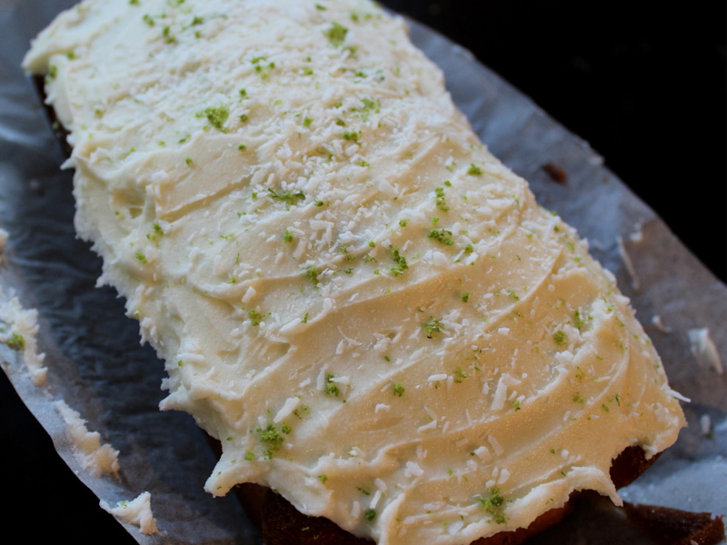Lime and coconut loafe cake, Bumpkin Betty