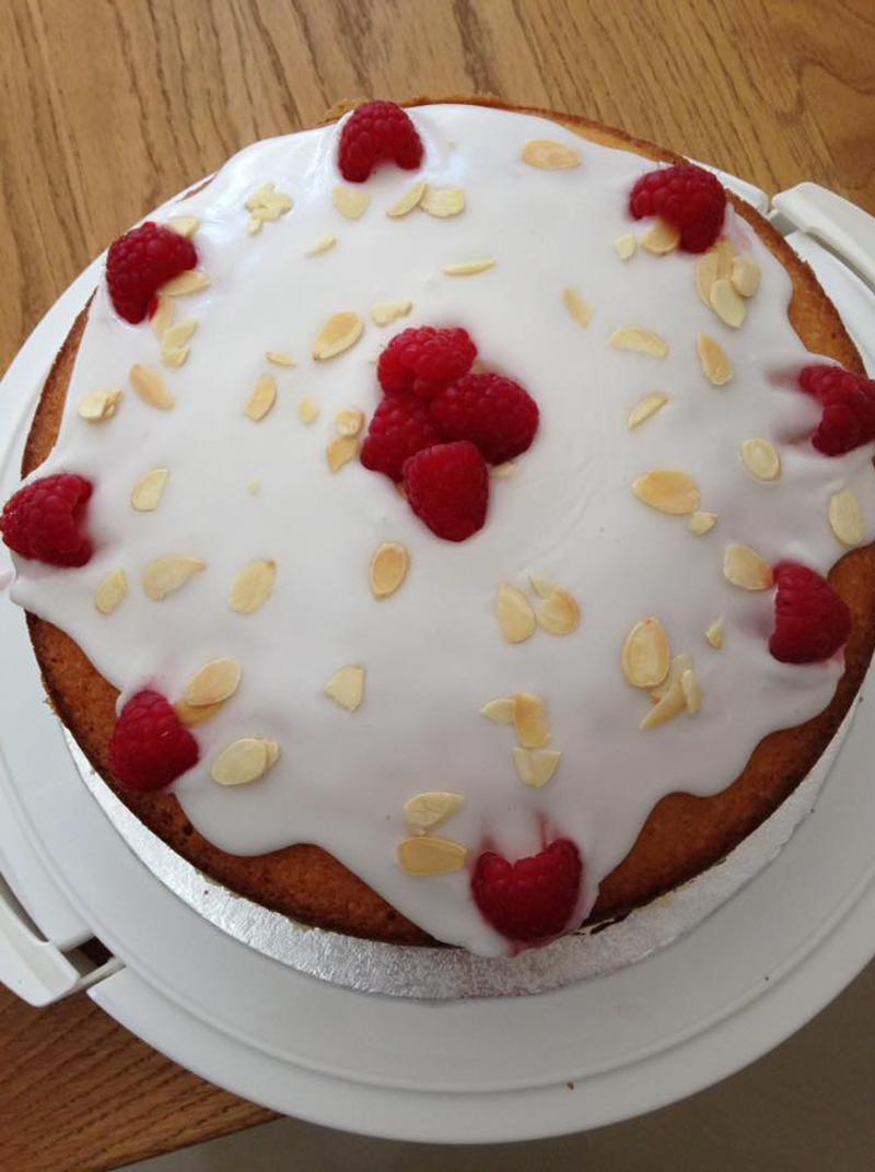 Raspberry and almond cake, Bumpkin Betty