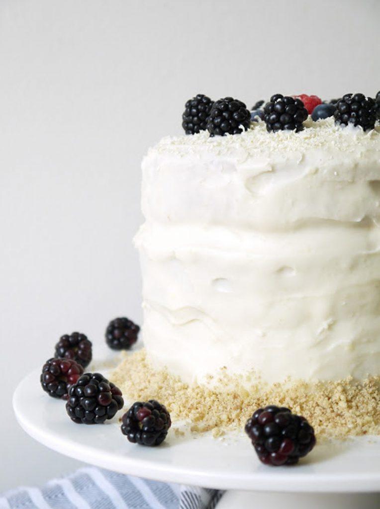white choc and blackberry cake, Bumpkin Betty