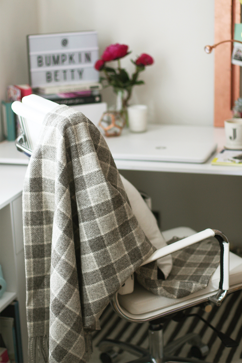 Art of the loom grey check throw, Bumpkin Betty