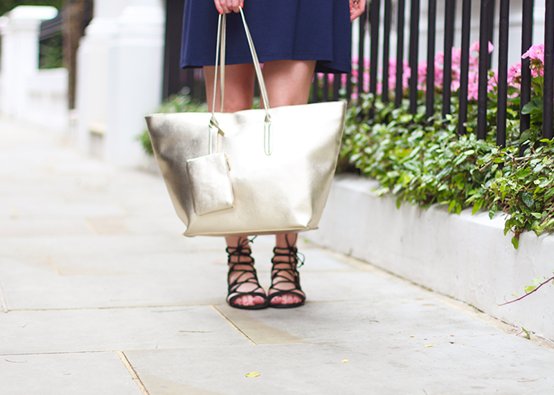 Gold metallic tote bag, Bumpkin Betty