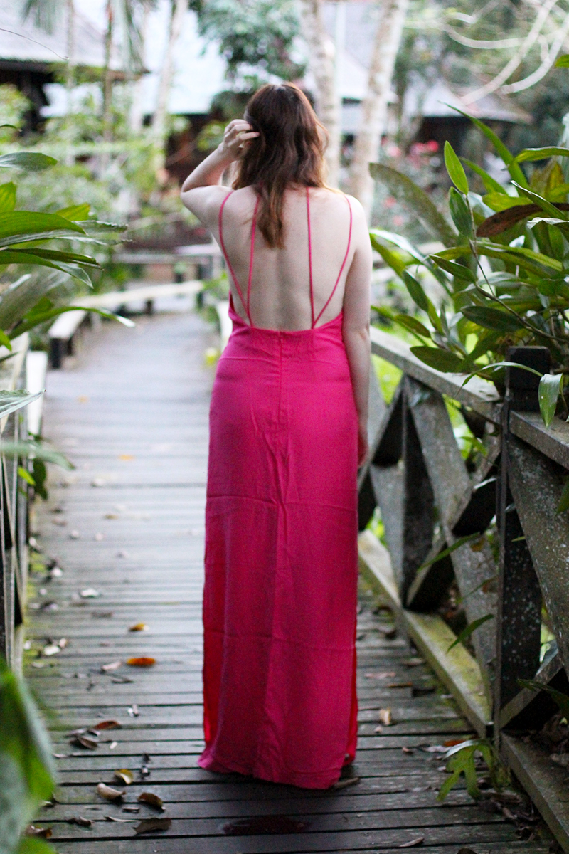 Pink backless maxi dress, Bumpkin Betty