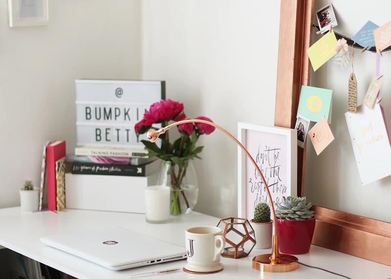 Modern monochrome and rose gold desk inspiration, Bumpkin Betty