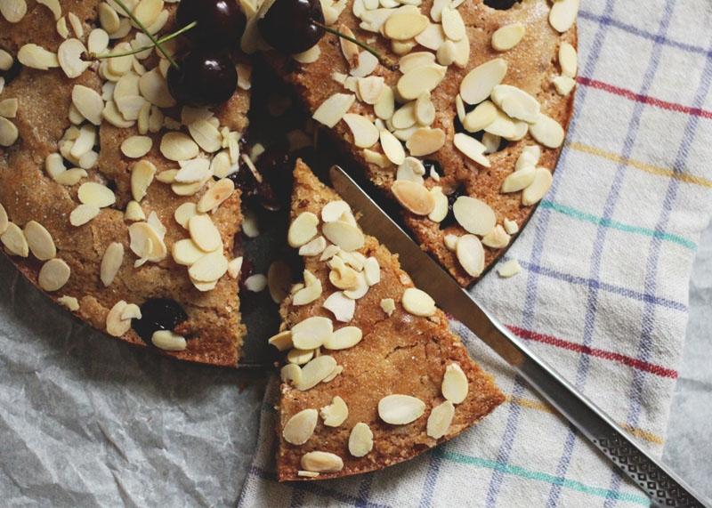 Cherry and almond spelt cake, Bumpkin Betty