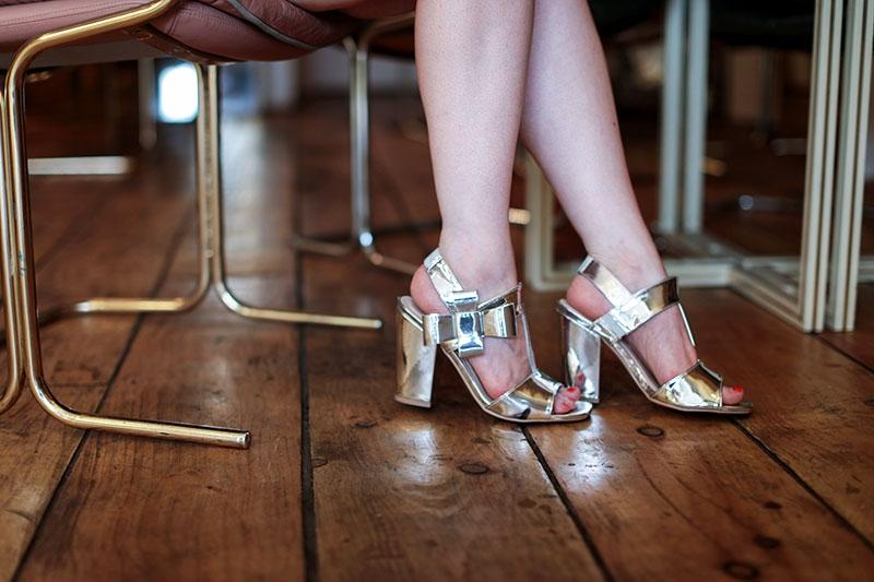Dolcis silver metallic bow sandals, Bumpkin Betty