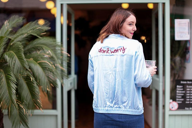 H&M blue slogan bomber jacket, Bumpkin Betty
