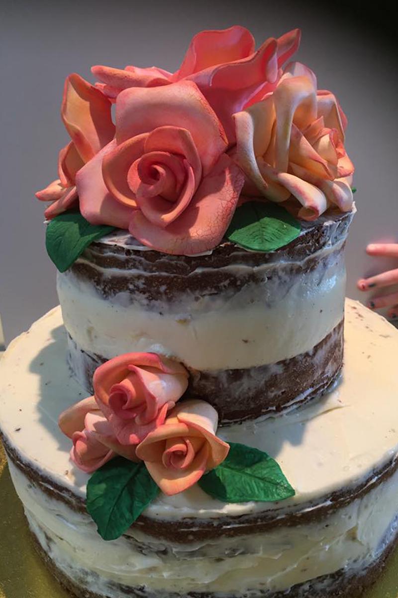 Layer cake with homemade sugar flowers, Bumpkin Betty Baking Club