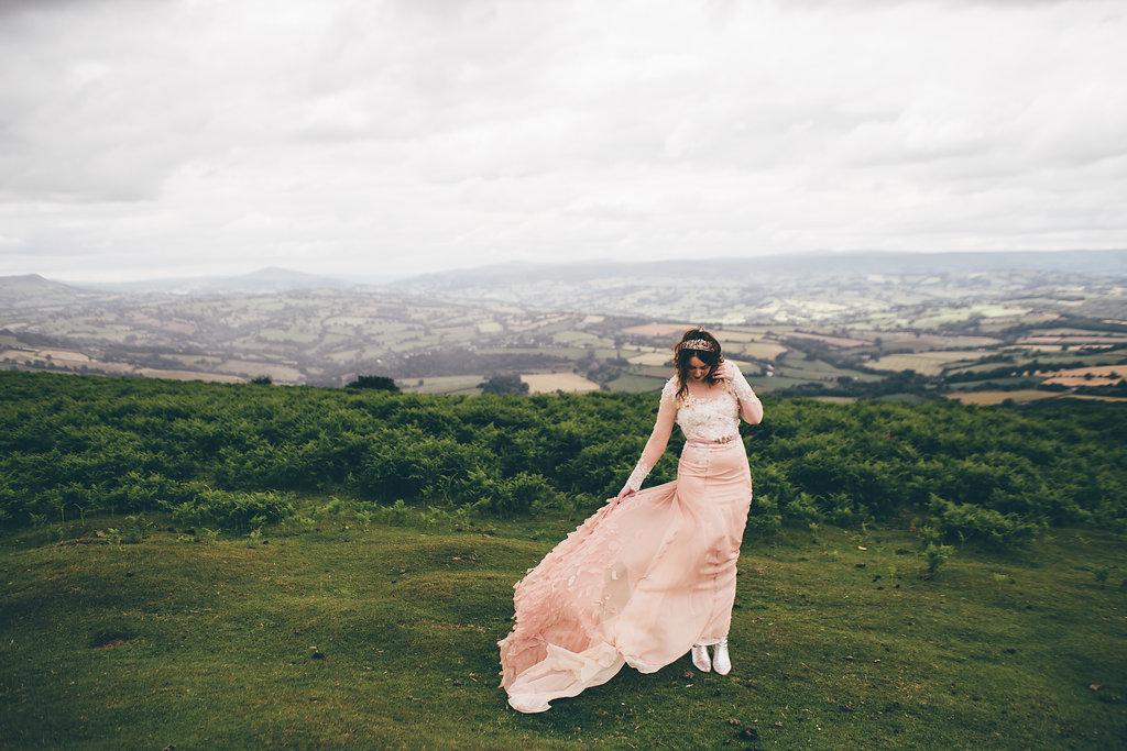 Pink chiffon wedding dress, Bumpkin Betty