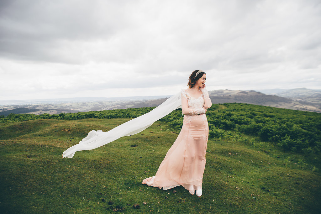 Pink sheer wedding dress, Bumpkin Betty