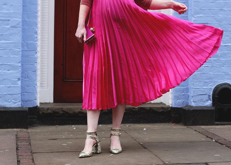 Asos pink pleated midi skirt, Bumpkin Betty