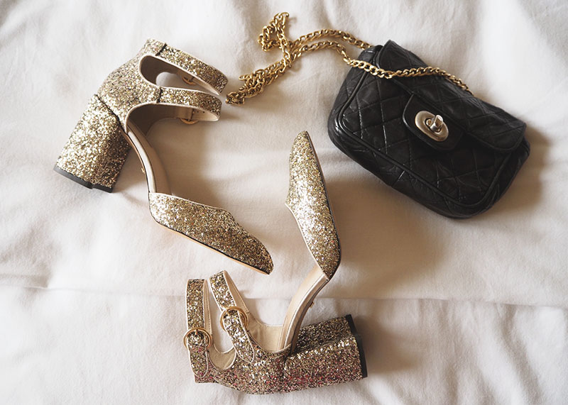 Topshop gold glitter shoes, Bumpkin betty
