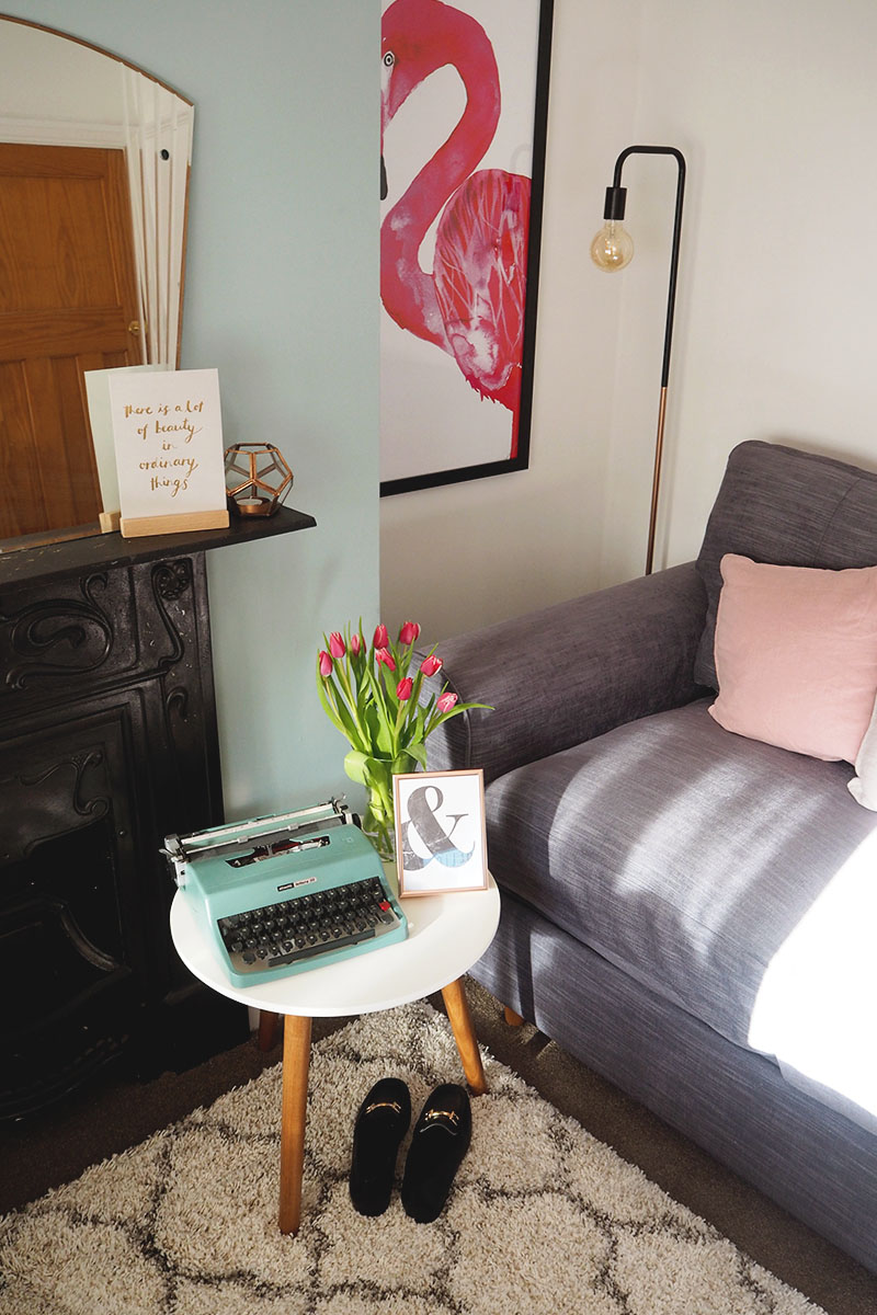 green, pink and grey guest room, Bumpkin Betty