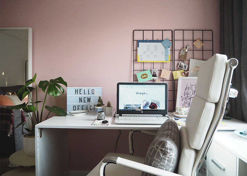 pink, black and rose gold office, Bumpkin betty