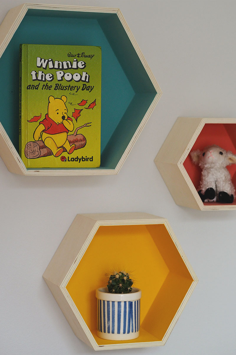 hexagon shelves for nursery, Bumpkin Betty
