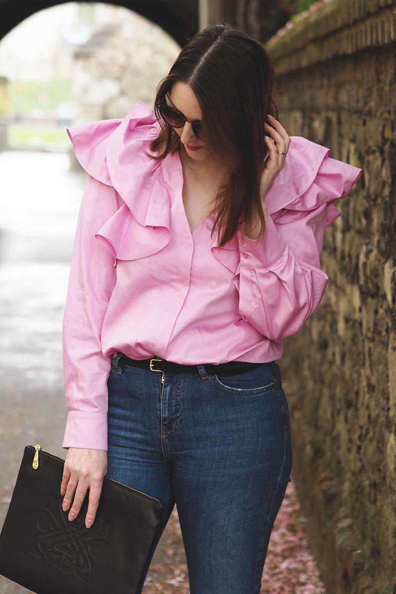 H&M pink frill shirt, Bumpkin Betty