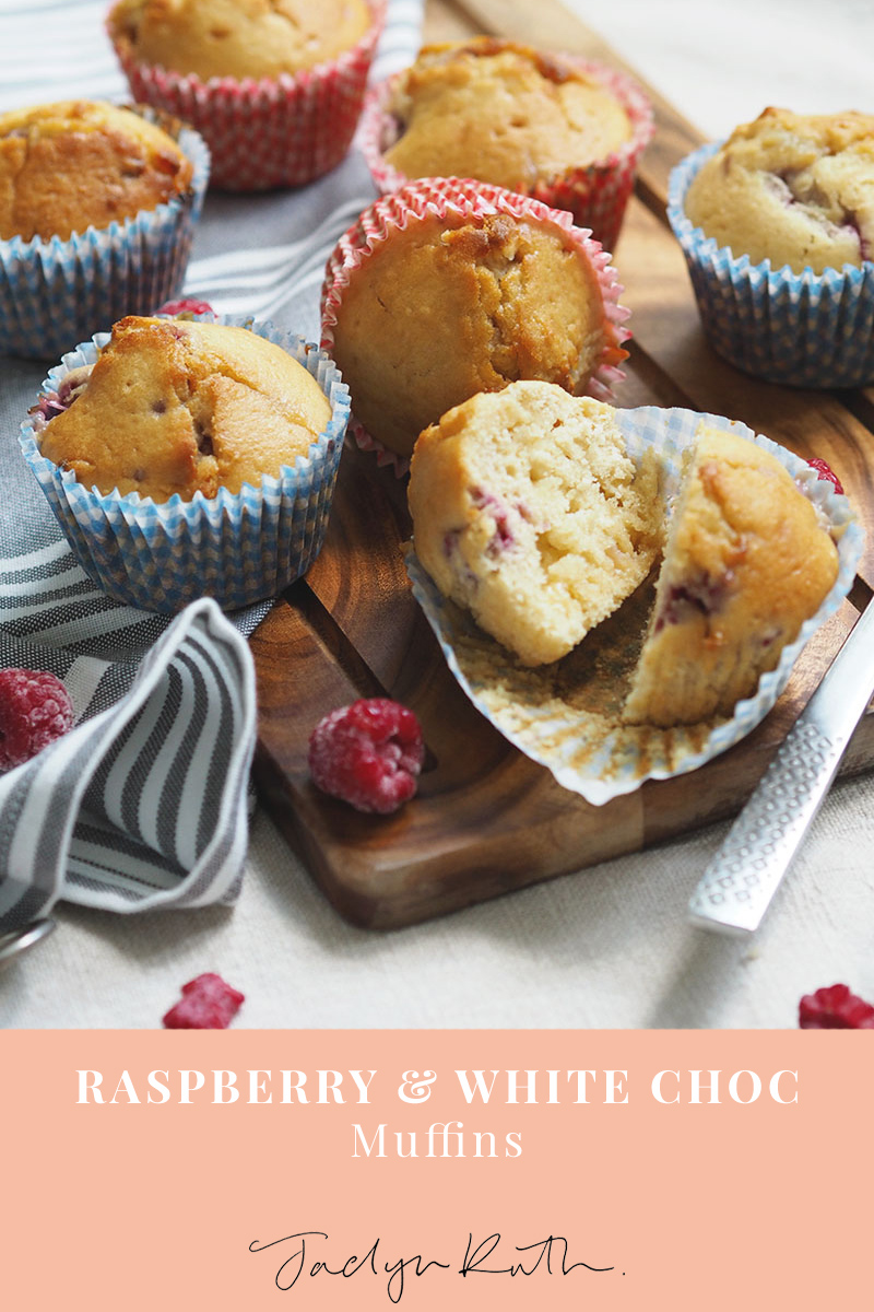 raspberry and white chocolate muffins, Jaclyn Ruth