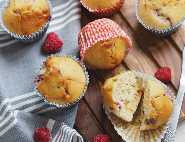 Raspberry and white chocolate muffins, Bumpkin Betty