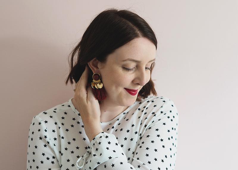 H&M red tassel earrings, Bumpkin Betty