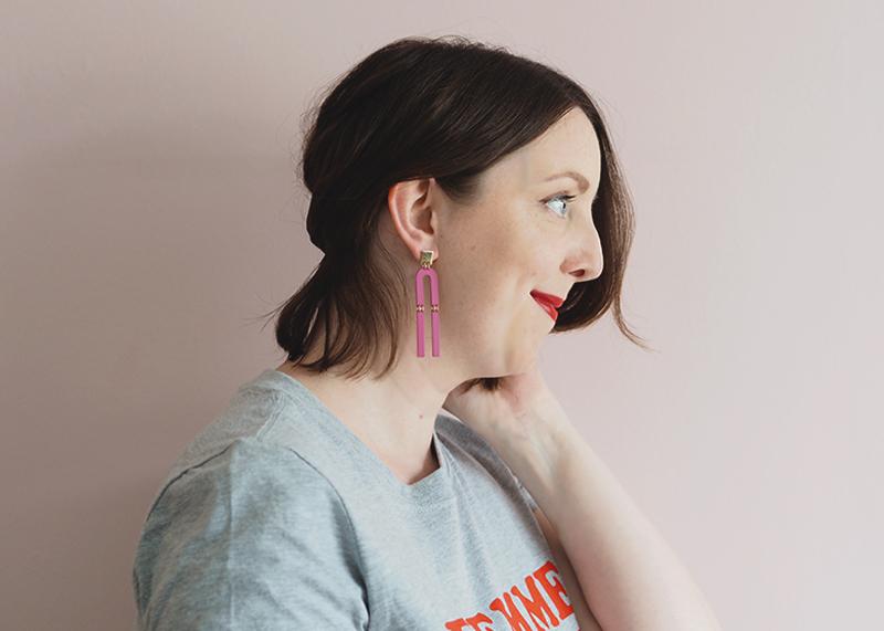 Topshop pink statement earrings, Bumpkin Betty