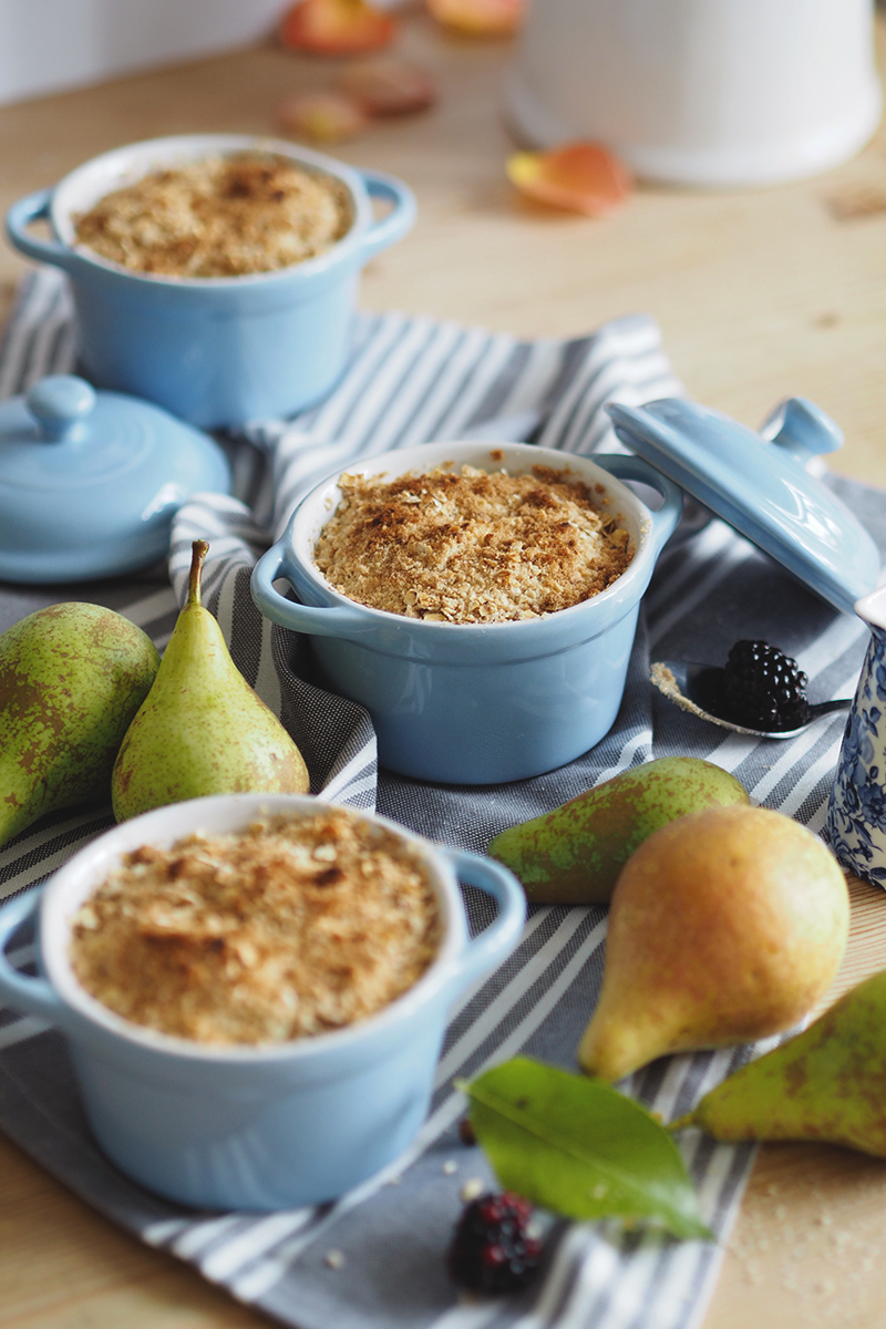 Miniature pear crumbles, Bumpkin betty
