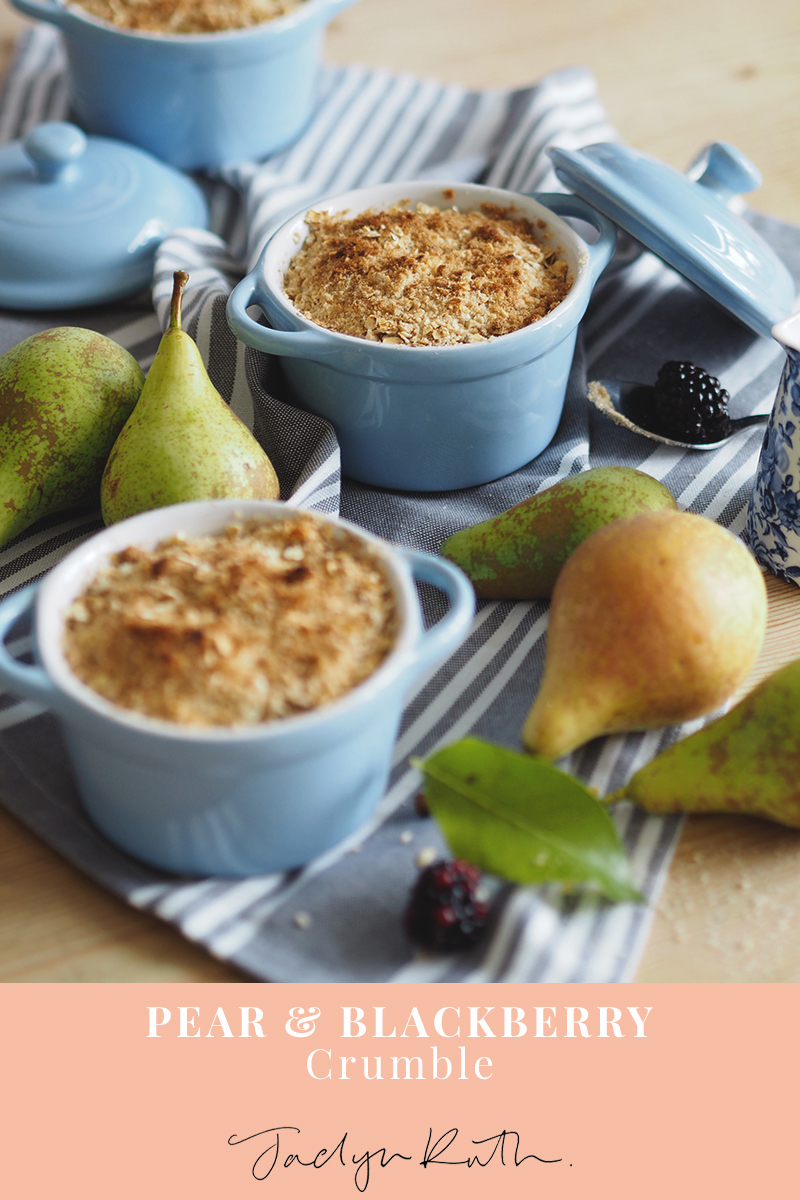 pear and blackberry crumble recipe, Jaclyn Ruth